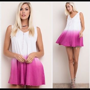 Stunning Raspberry Dip Dyed Cotton Swing Top!